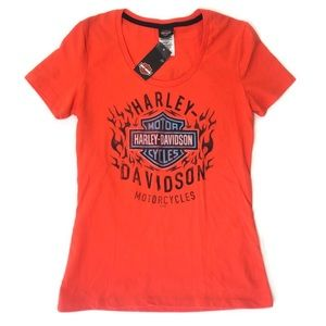 NWT Harley Davidson T Shirt Orange Medium